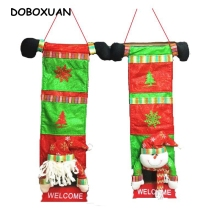 Welcome Christmas Door Ornaments Hanging Decorations Upscale Santa Claus Snowman Christmas Gift Bags Home Party Indoor Decor