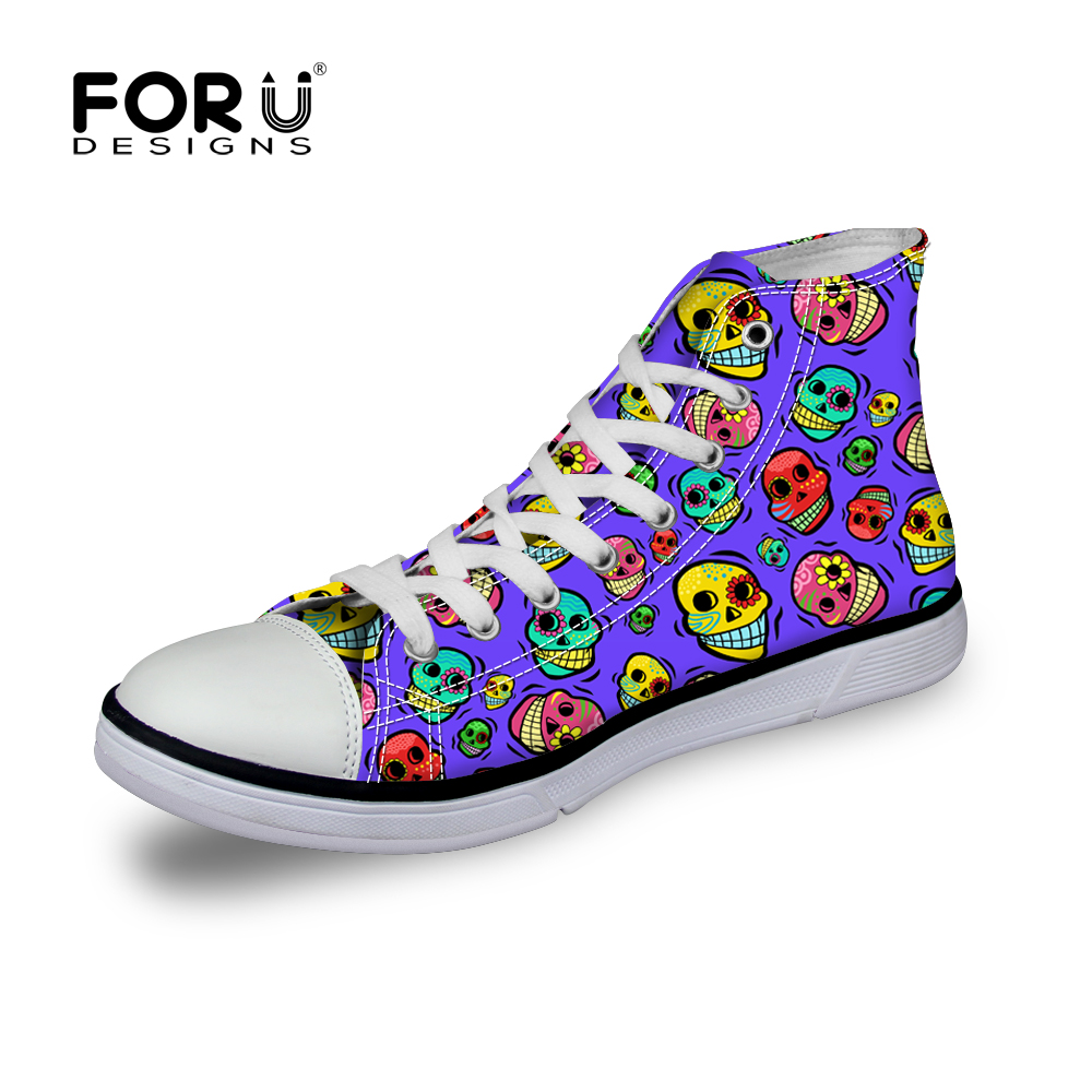 36ceff4f2b71 Dentelle-Up Femmes Chaussures High Top Crâne Impression Toile Chaussures  pour Femmes Casual Filles Appartements de Marche Chaussures zapatos mujer