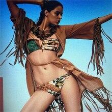 Bikinis Женщины 2017 Hot Sexy Бретелек бандо Печати Купальник Push Up Купальники Женщины Бикини Установить Бразильский Biquini Купальный Костюм