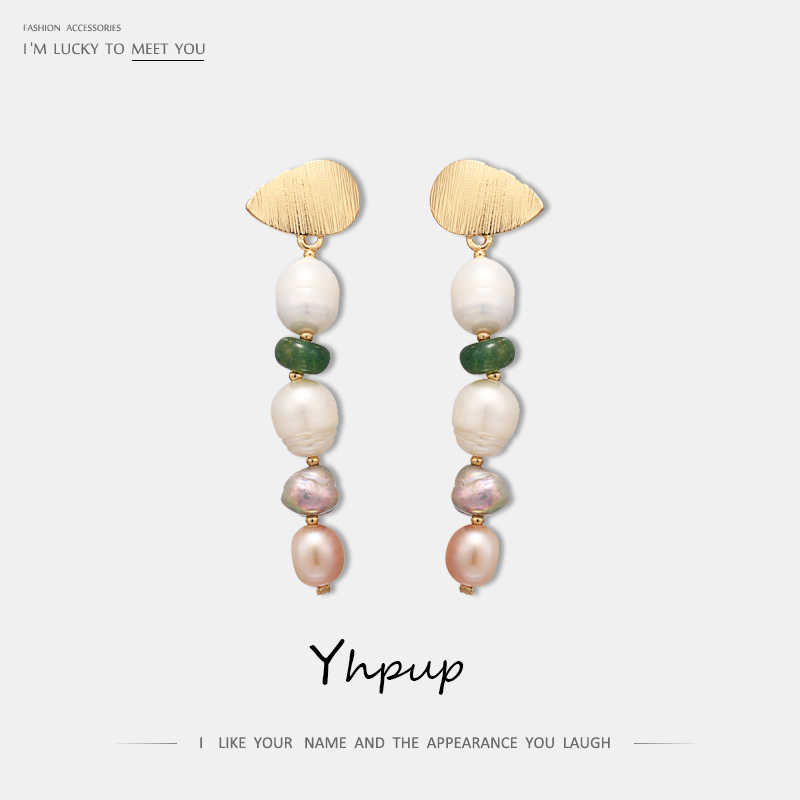 Yhpup Classic Elegant Natural Pearl Long Dangle Earrings Green Stone Earrings For Women Party Wedding Statement Fashion Jewelry