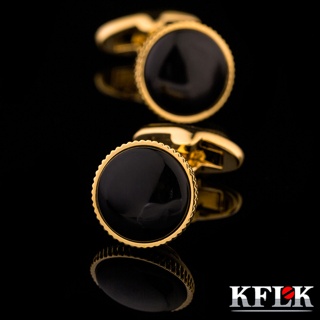 KFLK high-end French golden circular sleeve shirt cuff button nailed men high quality cuff button 2017 new arrival free shipping