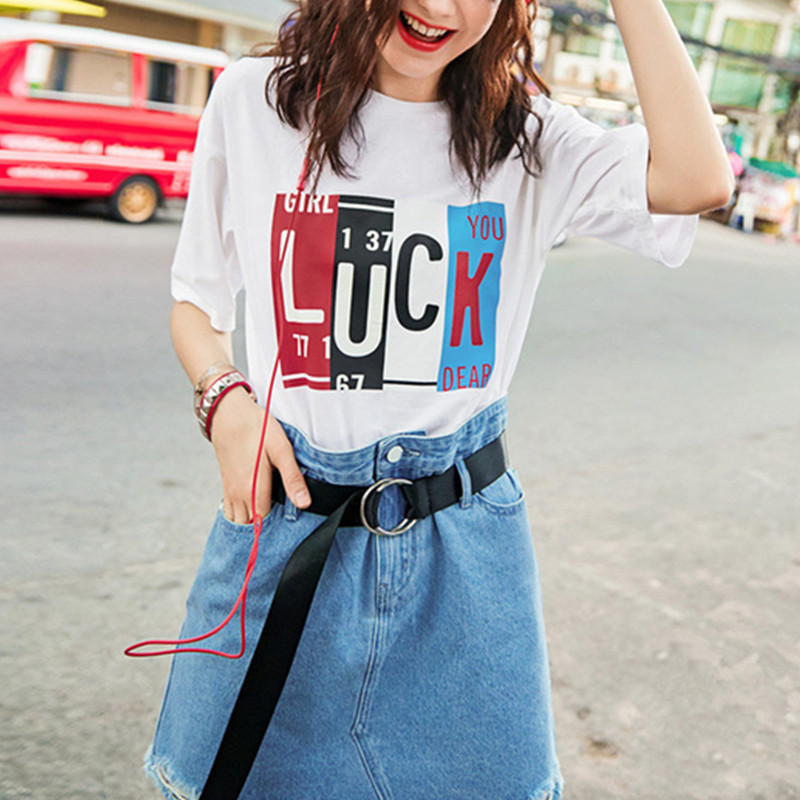 Women Clothes Summer T-shirt Fashion Letter Printing Shoulder T Shirt Short Sleeve O-neck Shirt Loose Tops