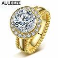 Классический Halo Имитация Бриллиантовое Обручальное Кольцо Роскошные 2CT Круглый Cut Алмаз Твердые 10 К Желтого Золота Обручальные Кольца Для Женщин
