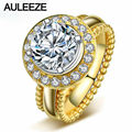 Classic Halo Simulated Diamond Engagement Ring Luxury 2CT Round Cut Diamond Solid 10K Yellow Gold Wedding Rings For Women