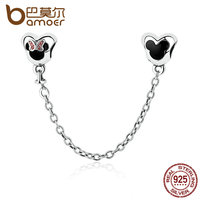 BAMOER Genuine 925 Sterling Silver Minnie Mouse Safety Chain Stopper Charms Fit Charm Bracelets For Women