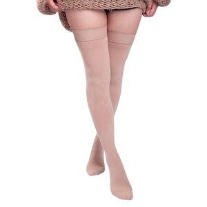 "Image 4 - חדש נשים גרבי דליות ירך גבוהה 25 30 מ""מ כספית רפואי דחיסת סגור הבוהן גרבי JL"