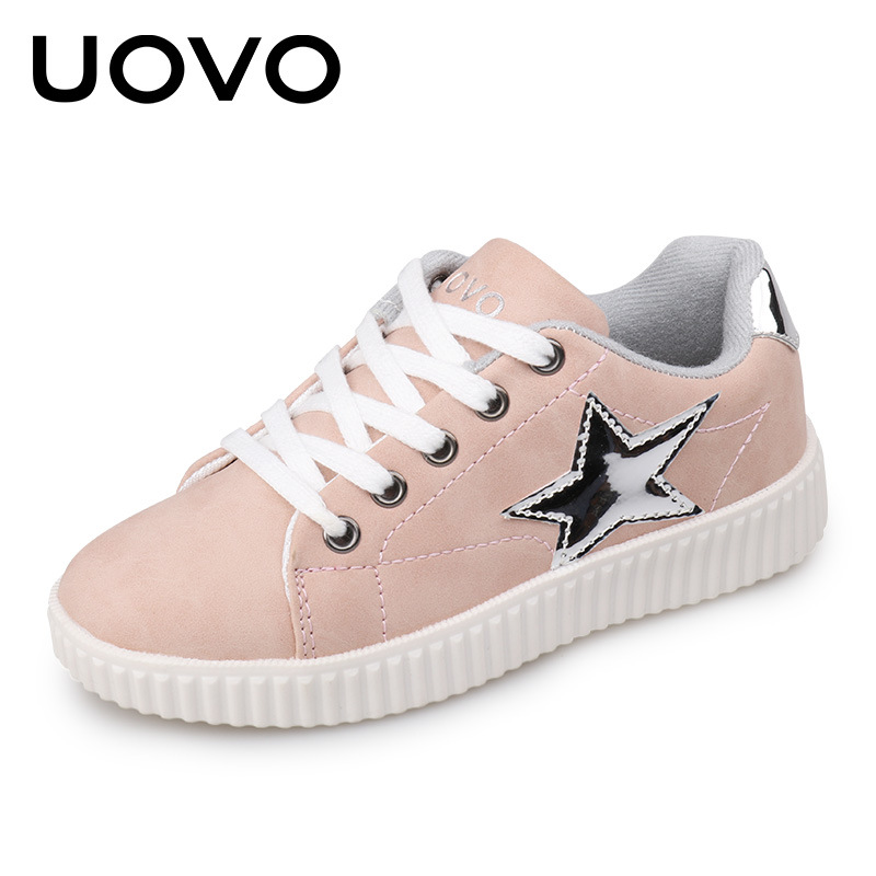 EUR 28-36 UOVO Brand New Kids Shoes For Girl Children Casual Shoes Fashion Lace-Up Solid Girls Sneakers Breathable Sport Shoes 2017 breathable children shoes girls boys shoes new brand kids leather sneakers sport shoes fashion casual children boy sneakers