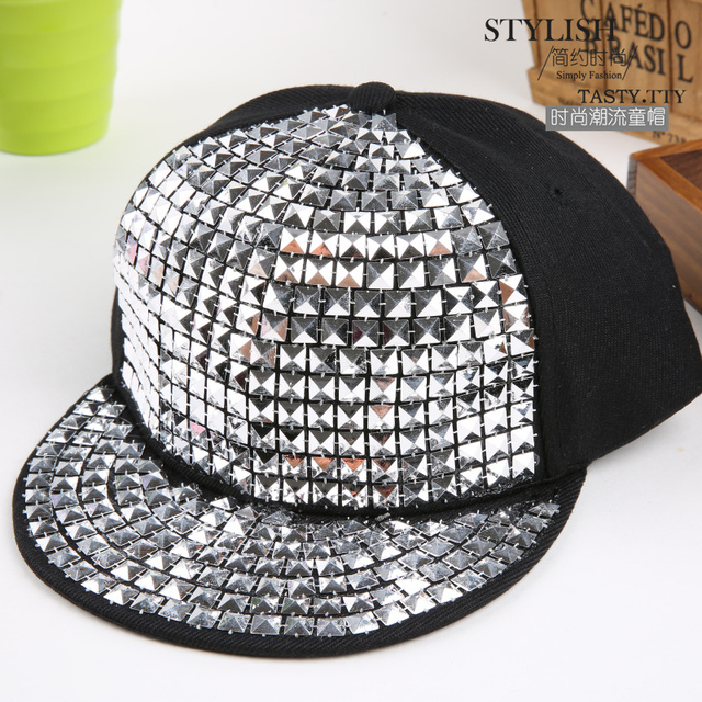 a590d304 US $7.7 |Kids Fashion Rivet Hip Hop Snapback Hats Gold Silver Crystal  Custom Brand Baseball Cap Sport Luxury Boy Girl Casquette Gorras-in  Baseball ...