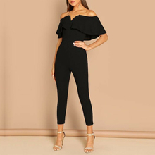 Fashion Women Ruffle Off-Shoulder Party Clubwear Playsuit Solid Bodycon Jumpsuit Long Trousers Sexy S-XXL