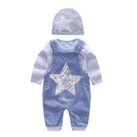 DFXD 2018 Spring Baby Girl Boy Clothing Set Top Quality Blue Striped Long Sleeve Shirt+Star Print Jumpsuit+Hat 3pc Newborn Suit