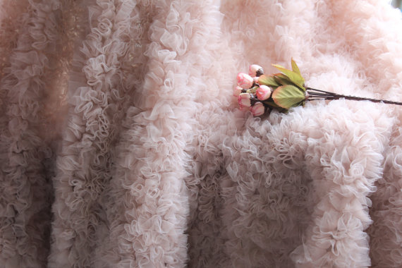 1 yard high quality nude pink chiffon 3D Rosette lace fabric for wedding backdrop new born