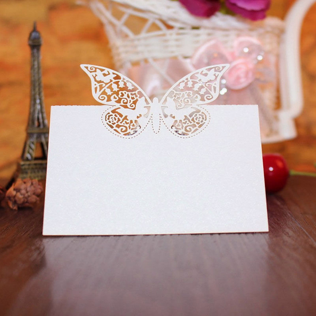50pcs party guest name place invitation cards favor decoration 50pcs party guest name place invitation cards favor decoration wedding butterfly laser cut wedding party table stopboris Choice Image
