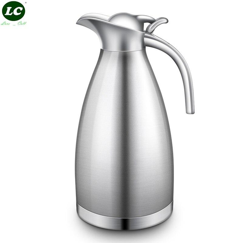 2 литра из нержавеющей стали с двойными стенками изолированный термос чайник вакуумная Вода Кофе Чай бутылка вакуумная колба бутылка для го...