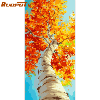 RUOPOTY 60x120cm Frame Tree DIY Painting By Numbers Landscape Acrylic Paint By Numbers Handpainted Oil Painting For Home Decor