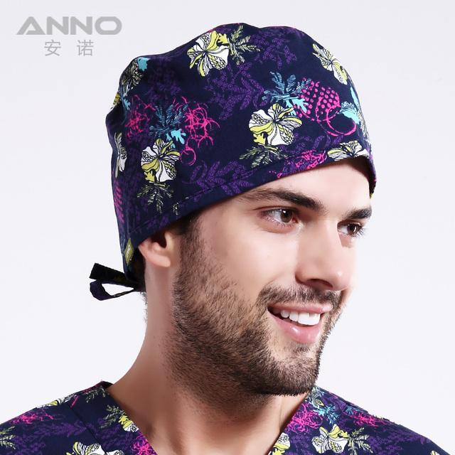 2016 de la moda Azul Florals patrón matorrales de impresión sombreros tapas médica en forma de pelo corto