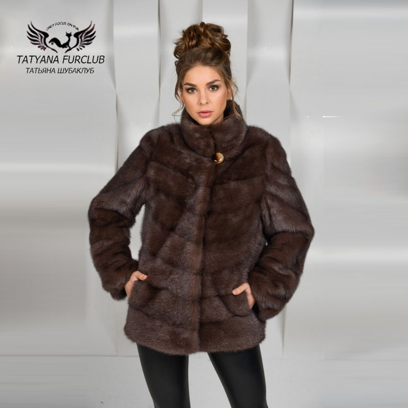Tatyana Real Fur Coat Women Luxury Mink Fur Coats,Coffee Short Jacket,Natural Mink Fur Coat Female Jacket, Women's Fur Clothes