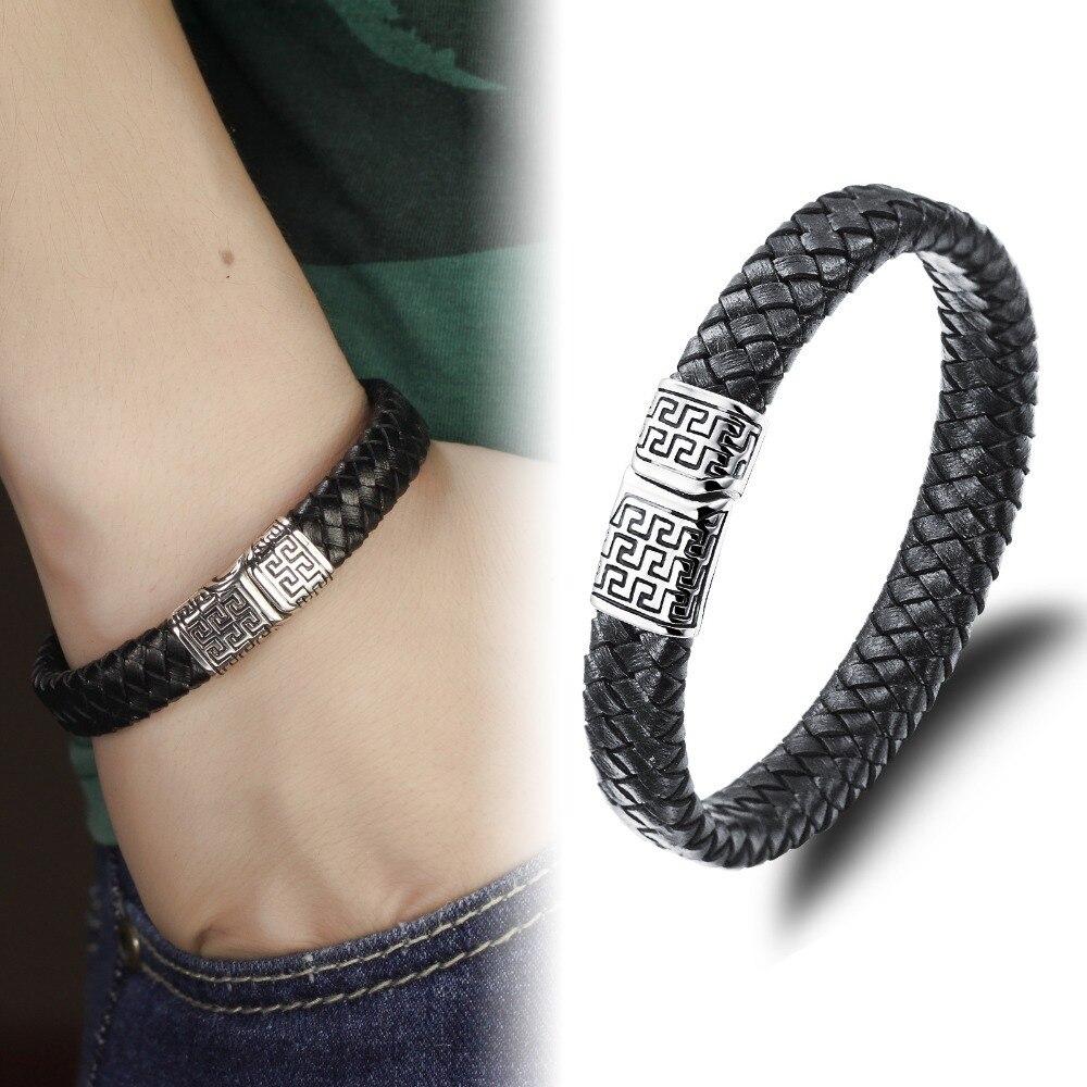 Bracelet Punk Rock Fret Stainless Steel Magnetic Clasp Leather Braided  Bracelet Men Vintage Male Woven Friendship