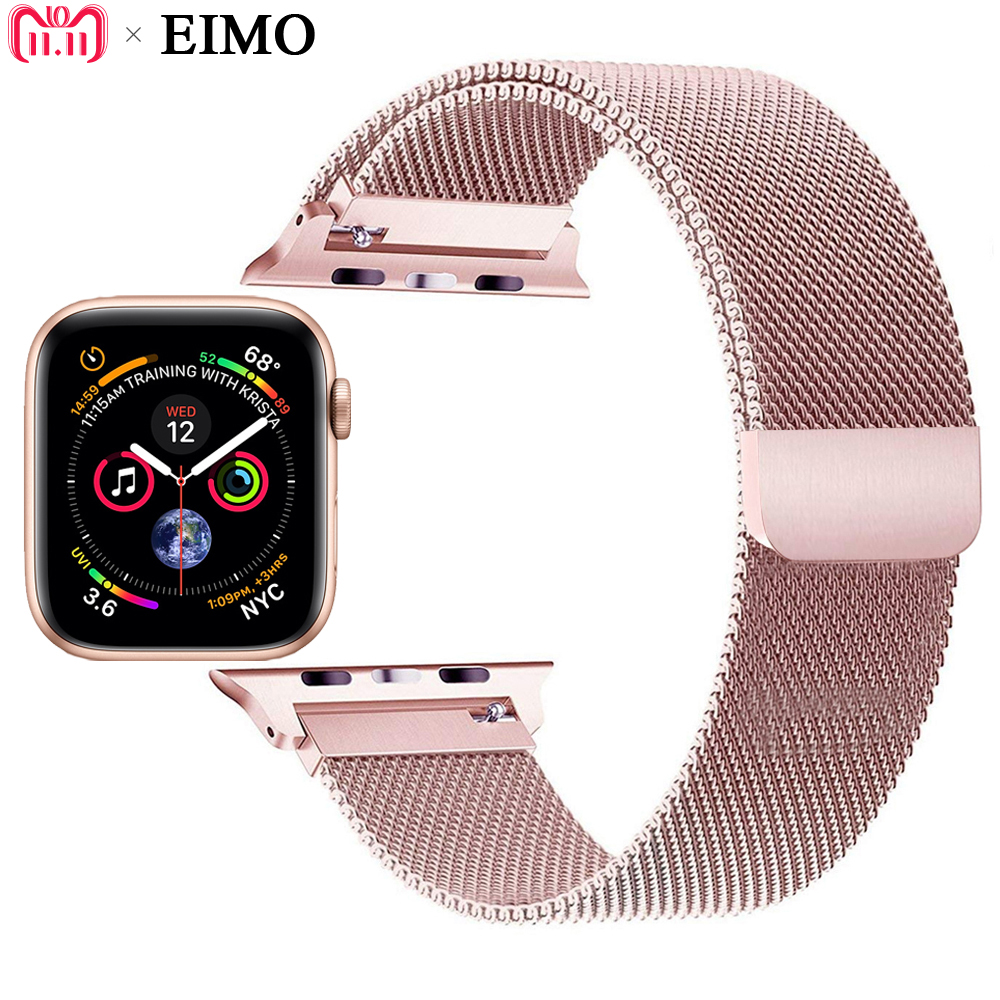 EIMO Milanese Loop Strap for Apple Watch Band 42mm 44mm Iwatch series 4 3 2 1 40mm 38mm Bracelet Wrist Belt Watchband pulsera цена