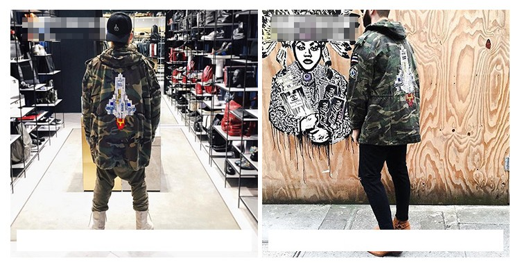 Aolamegs Camouflage Jacket Men Justin Bieber Style Rocket Embroidery Windbreaker Medium-Long Hooded Trench Coat Plus Size S-XXXL (7)