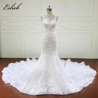 Gorgeous Flower Lace Bridal Dresses Appliques Bodice Mermaid Wedding Dress Long Tail Sexy Style Tank Cutom