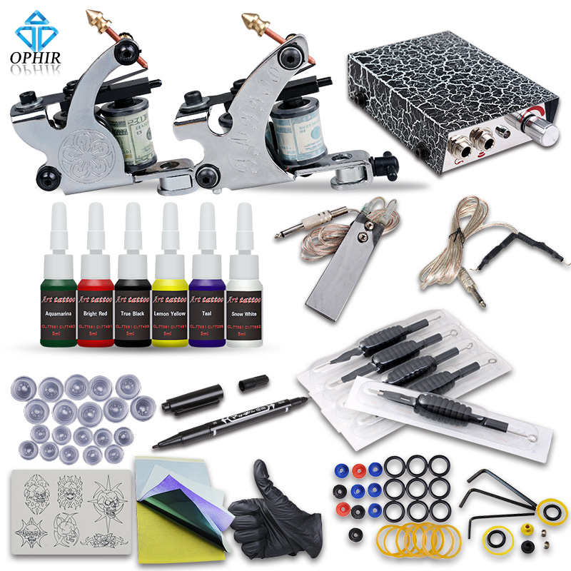 OPHIR Beginner Complete Tattoo Kit 2x Tattoo Machine Guns Power Supply with Needles 12 Color Tattoo Inks Body Tattoo Art_TA079 beginner tattoo kit 2 machine gun with lcd tattoo power inks supply free shippiing
