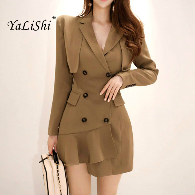 Solid Asymmetrical Dress 2018 Women Autumn Full Sleeve Notched Ruffles Ofice Lady Button Wrap Dress Work Club Mini Short Dresses