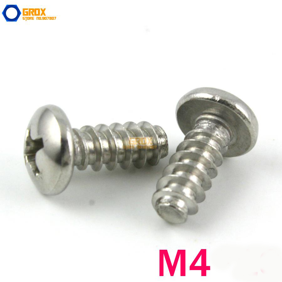 M4 Pan Head Flat End Phillips Self Tapping Screw 304 Stainless Steel 1000pcs m1 2 3 4 5 6 1 2mm nickel plated micro electronic screw cross recessed phillips round pan head self tapping screw