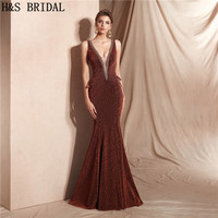 H&S BRIDAL Deep V Neck evening dress Red Gown Sexy Lace Up Evening Gown robe de soiree 2019 Prom Dresses Sleeveless formal dress