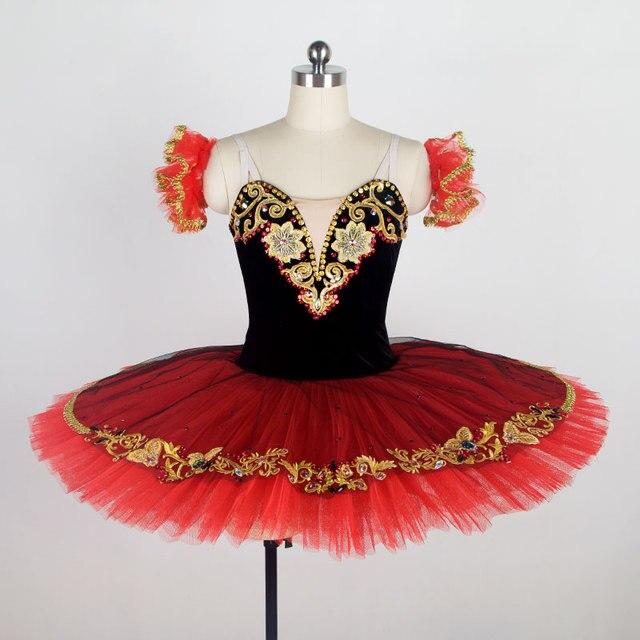 7c9b43978d6 Femmes Enfant Rouge Classique Crêpe Ballet Tutu Jupe Pour Espagnol Concours  De Danse Costume Fille