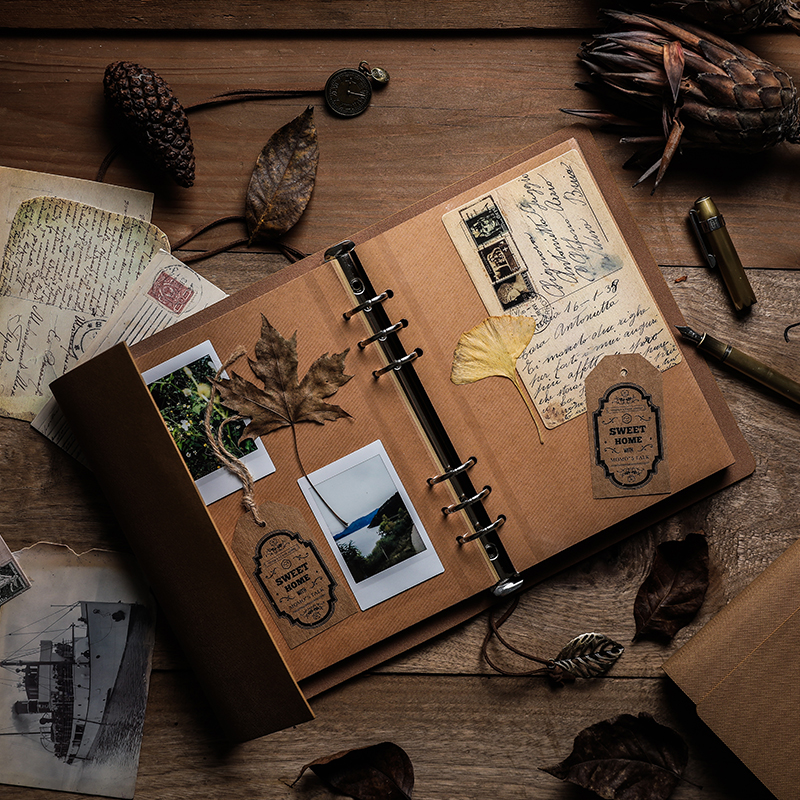 Delicate Retro PU Leather DIY Manual Loose-leaf Photo Album Spiral Page Originality Adhesive Coating Travel Memorial Memoir Gift