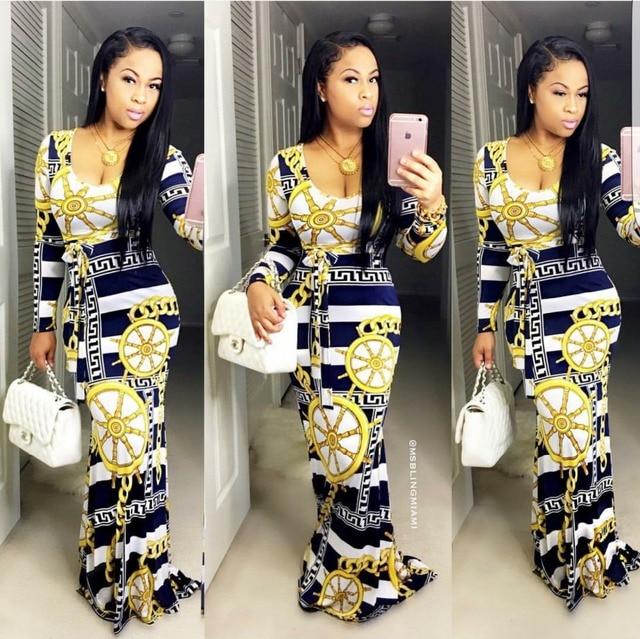 2017 mode moulante sexy femme robes bazin riche robe plaid golden chain  imprimer dashiki robe gaine