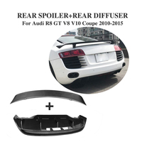 Fibra de carbono Traseiro Trunk Bota Lip Spoiler Asa e Rear Bunper Difusor para Audi R8 GT V8 V10 2010  2015 2 pçs/set Acessórios Do Carro| | |  -