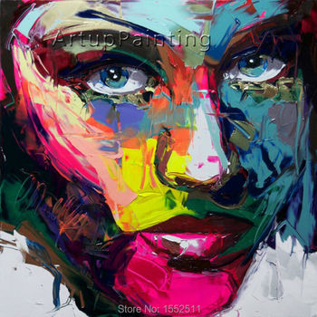 Palette knife painting portrait Palette knife Face Oil painting Impasto figure on canvas Hand painted Francoise Nielly 14-18