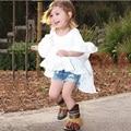 Kid roupas de bebê Estilo Quente 2016 Nova Primavera Da Menina do Algodão casual princesa branca flare vestido de manga bonito da moda vestido de noite vestido