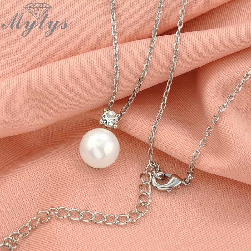 Mytys Pearl Pendant Necklace and Pearl Stud Earrings Jewelry Sets New Arrival Fashion Women Accessories CN140
