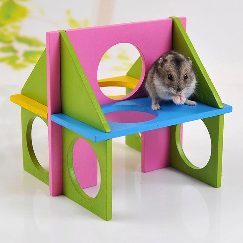 Hamster de madera Gimnasio Ratón Ratón Parqueo de juegos Colorido Escalada para mascotas Juguete Recreación Parque infantil Equipo de ejercicios Accesorios