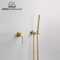 Bathroom Shower Set Wall Mounted Brushed Gold Modern Simplicity Solid Brass 2 Pcs Shower Head Concealed Mixer Shower Bath AH3026