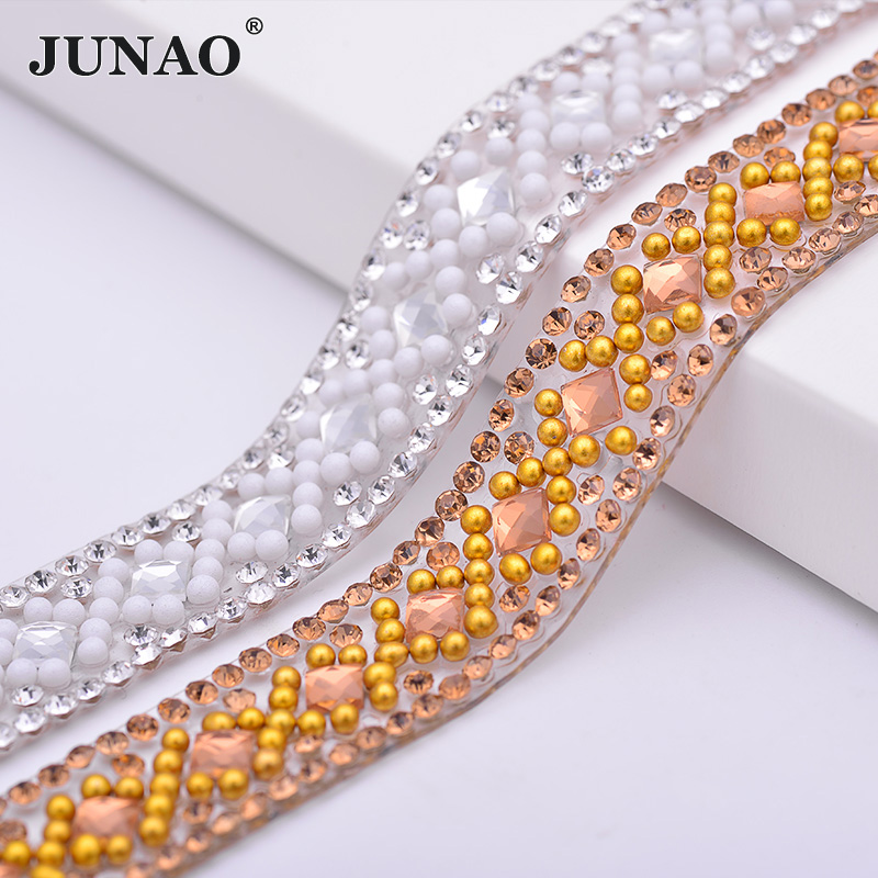JUNAO 5yard*14mm Clear Crystal Chain Hot Fix Rhinestones Mesh Trim Strass Banding Glass Stones Crystal Beads Applique For Crafts