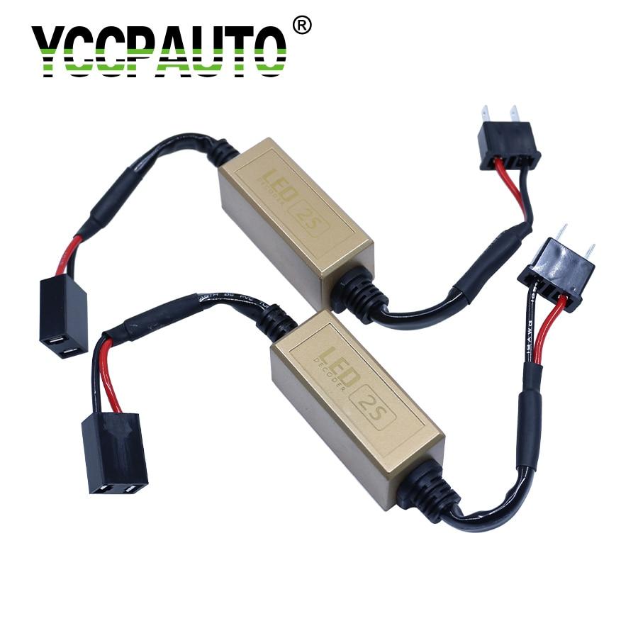 YCCPAUTO H7 H8 H1 H3 9006 9005 LED Canceller no Error Cable Car Fog Light Headlights Caubus Cable Resistor No Flickering Warning