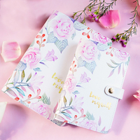 2019 Korean Fresh Design Rose & Flamingo Binder Notebook Planner Faux Leather Refillable Personal Planner Journal Dairy A5 A6