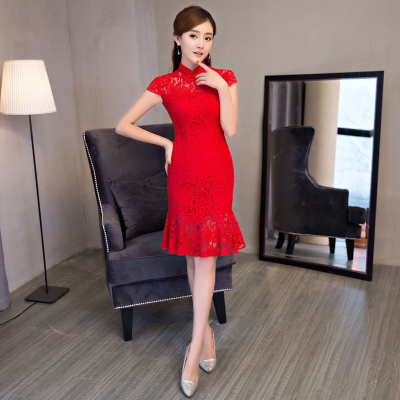 Red Mermaid Cheongsam Lace Wedding Dress Plus Size Qipao Mandarin Collar Chinese Dresses Y In Cheongsams From Novelty