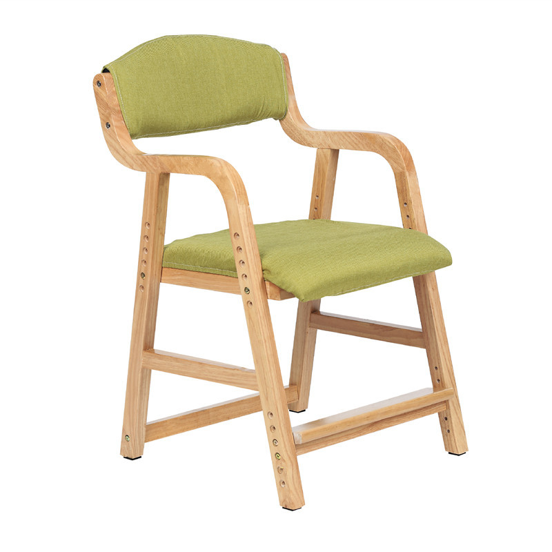 B Adjustable Lifting Child Seat Solid Wood Children's Study Chair Back Desk Chair Primary School Chair Home Writing Chair