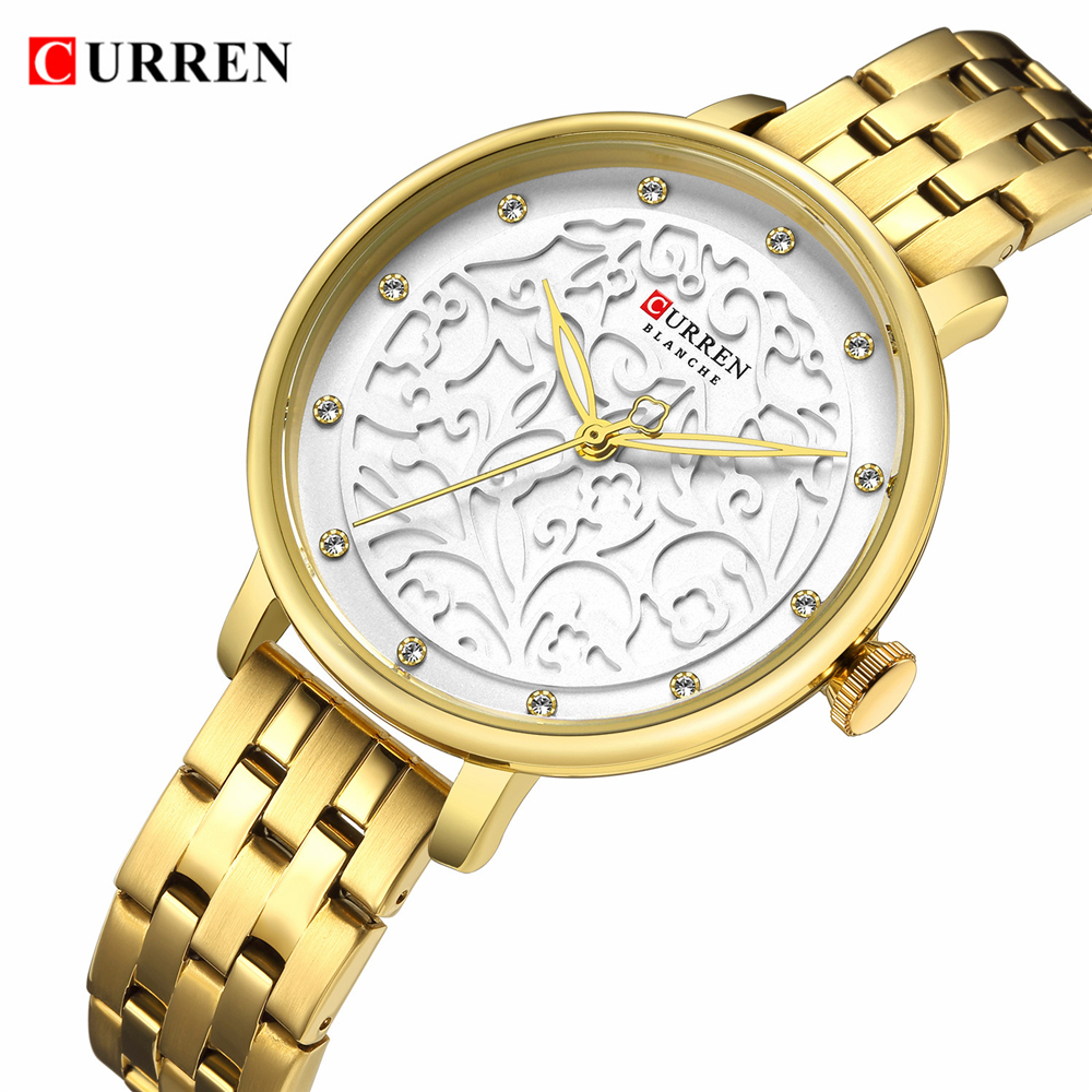 Top Brand CURREN Watches Women Classy Dress Gold Wristwatch With Stainless Steel Female Clock 2019 Fashion Luxury Ladies Watch