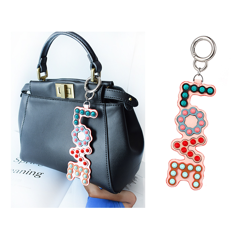 Women Bag Hanger Love Pendant Genuine Leather Rivet Pendant Charm Ornaments For Women Key Chain Bag Pendant Accessories Key Ring