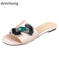 Luxury Flat Slippers Jeweled Bowknot Shoes Woman Peep Toe Candy Butterfly Knot Slides 2019 New Chic Rhinestone Satin Shoes Mujer