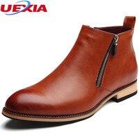 Cow Split Leather Boots Men Shoes Footwear High Quality Zipper Party Business Oxfords Formal Dress Autumn