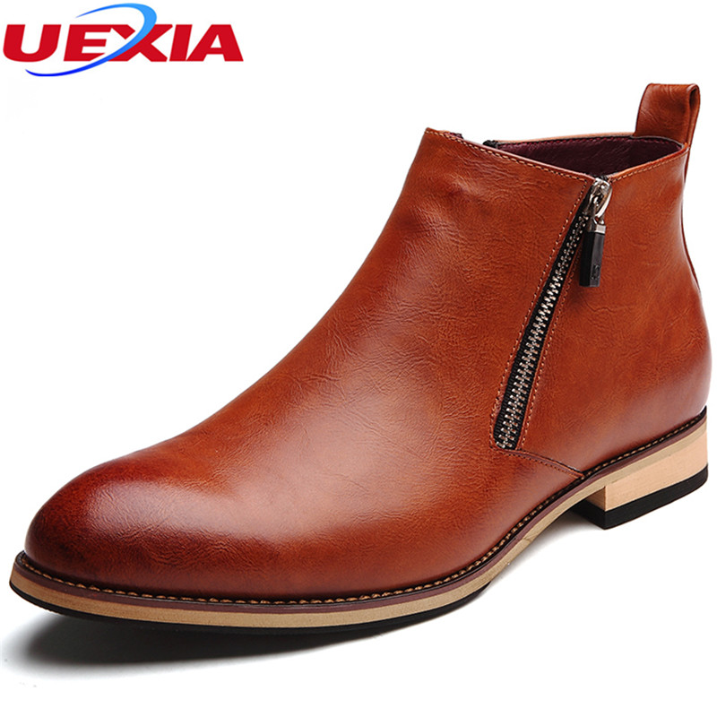 Cow Split Leather Boots Men Shoes Footwear High Quality Zipper Party Business Oxfords Formal Dress Autumn