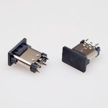 100pcs/lot  Copper USB 3.1 TYPE-C Female socket connector Vertical type
