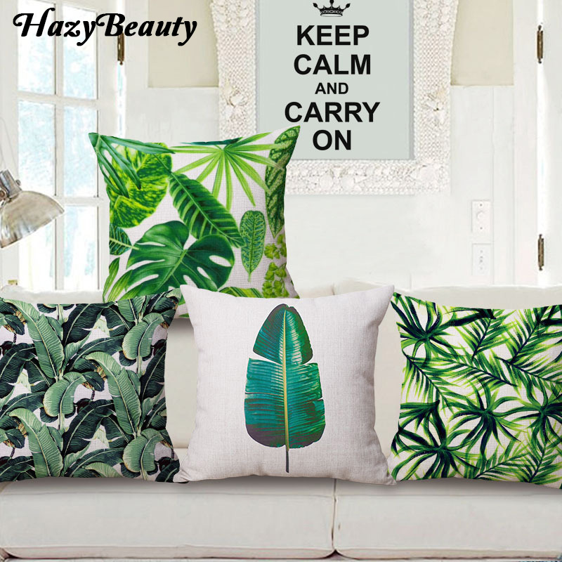 HazyBeauty New Arrival Rainforest Leaves Africa Linen Tropical Plants Hibiscus Flower Throw Pillow Case Chair Sofa Cushion Cover