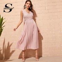 dd94e56fe9 Sheinside Pink Elegant Criss Cross Wrap Lace Bodice Dress Women 2019 Spring  High Waist Pleated Dresses